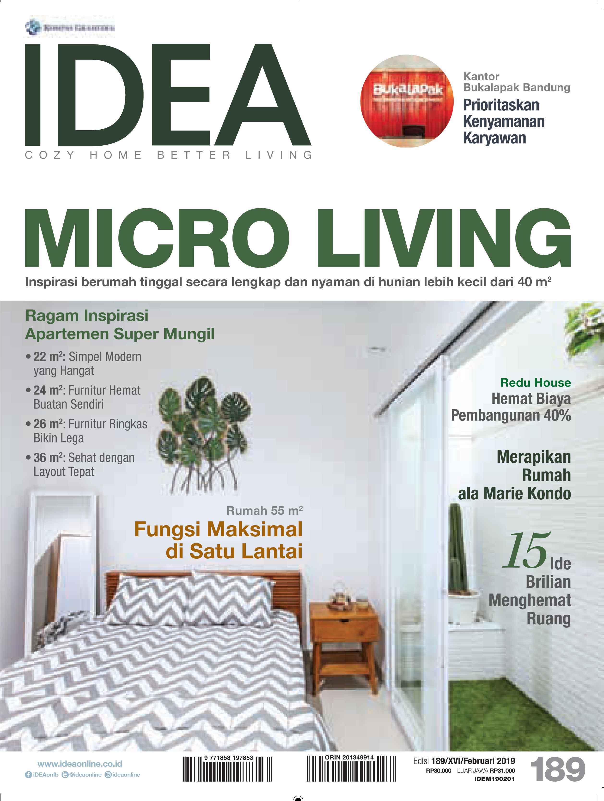 ARSITEKINTERIOR.COM dalam majalah IDEA Edisi 189 Februari 2019, karya dan narasumber MICRO LIVING