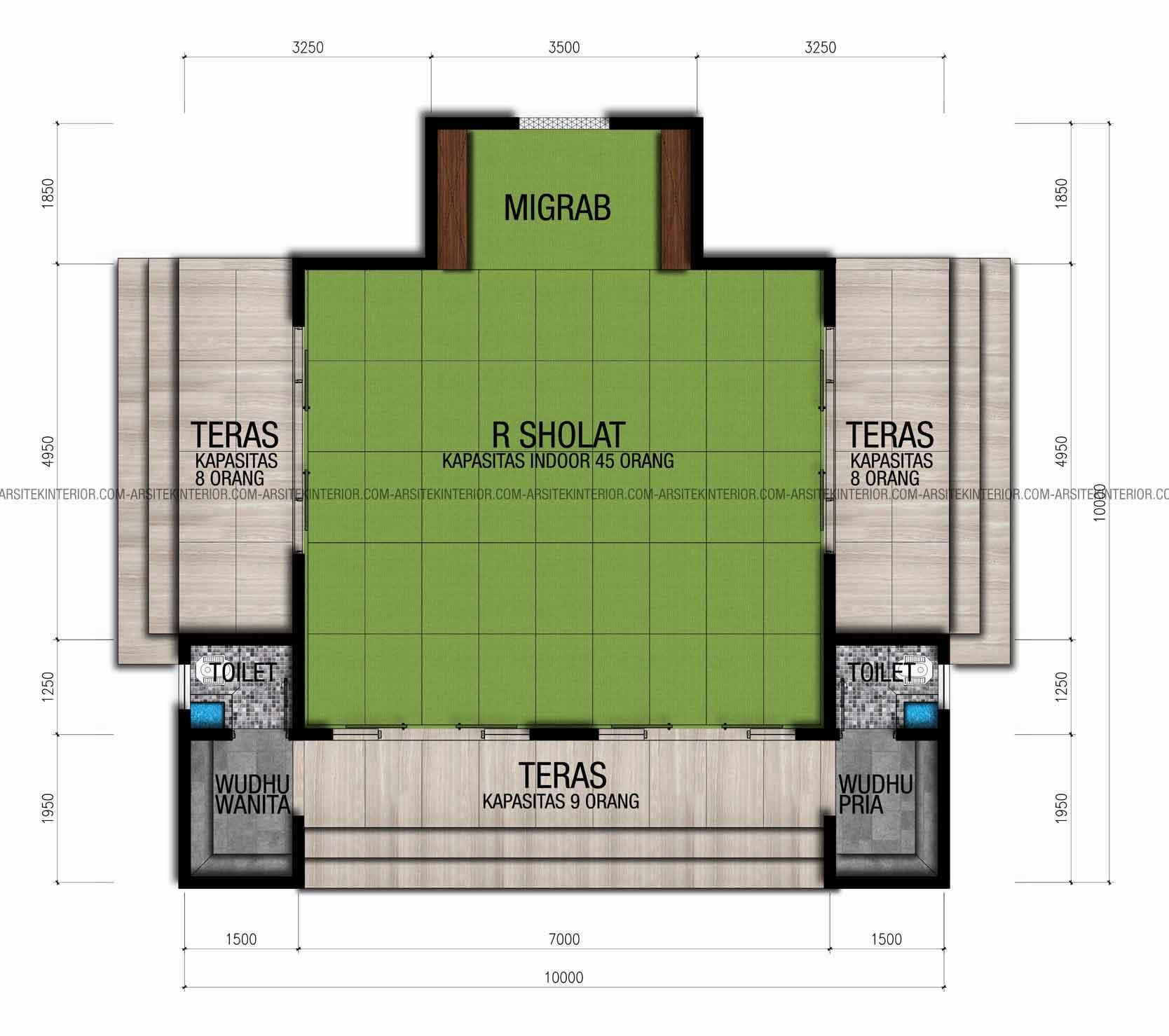 Desain Masjid Persegi Panjang Rumah Joglo Limasan Work